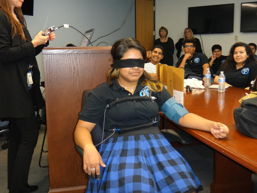 Picture of students in the polygraph machine